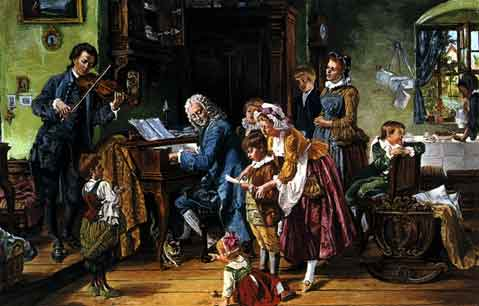 19th century depiction of the Bach family at morning practice Johann Sebastian Bach Family